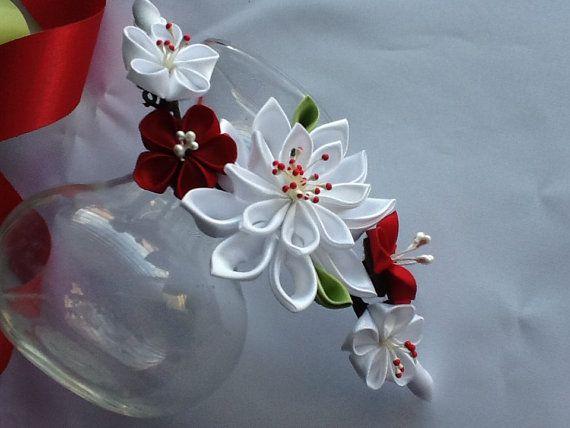 Hair Clip - White Red Lime Green Kanzashi Flowers - Wedding Flowers Bridal Headpieces Hair Accessories