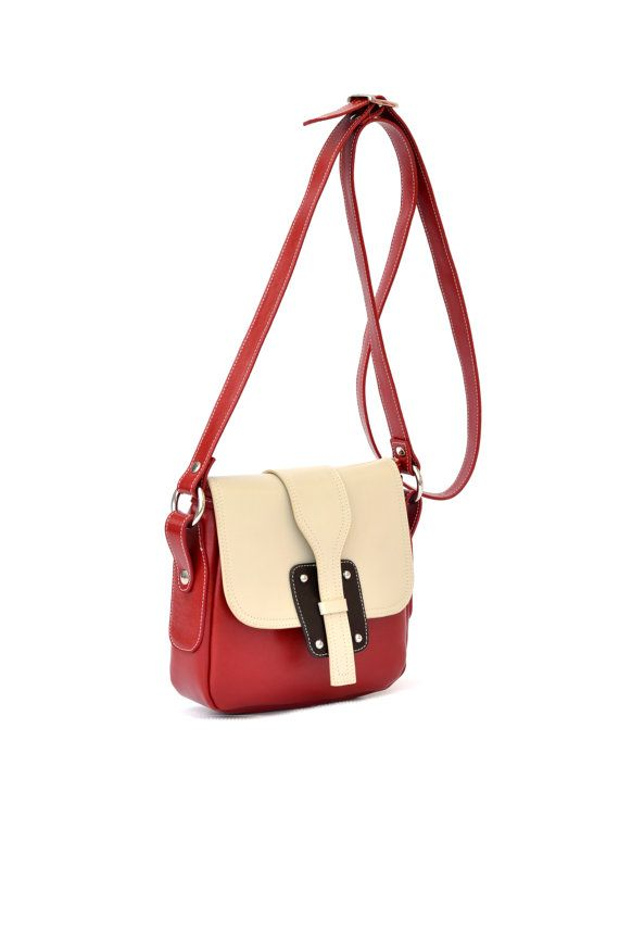 LEATHER Crossover Bag Leather Colored HandbagShoulder by CORYSBAGS
