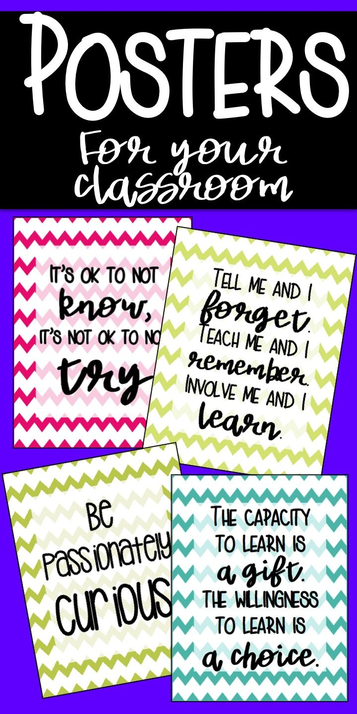 Classroom Posters With A Fun Colorful Chevron Theme Motivational