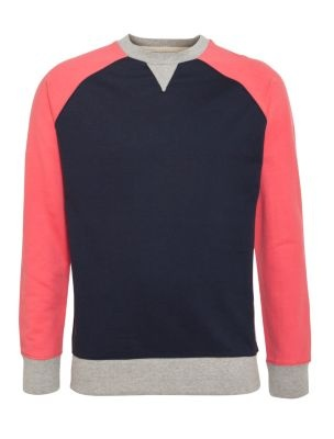 Navy and Coral Colour Block Sweater