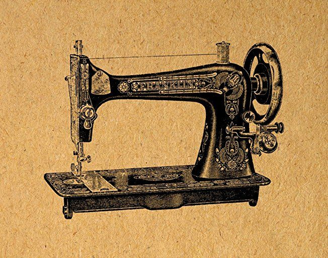 Vintage Sewing Machine Print Antique Illustration Wall Art Sewing Machine Poster or Print with a Vintage Light Brown Paper Style - Living Room Bedroom Nursery Office Home Decor (11 x 14 Inches) - $24.9900