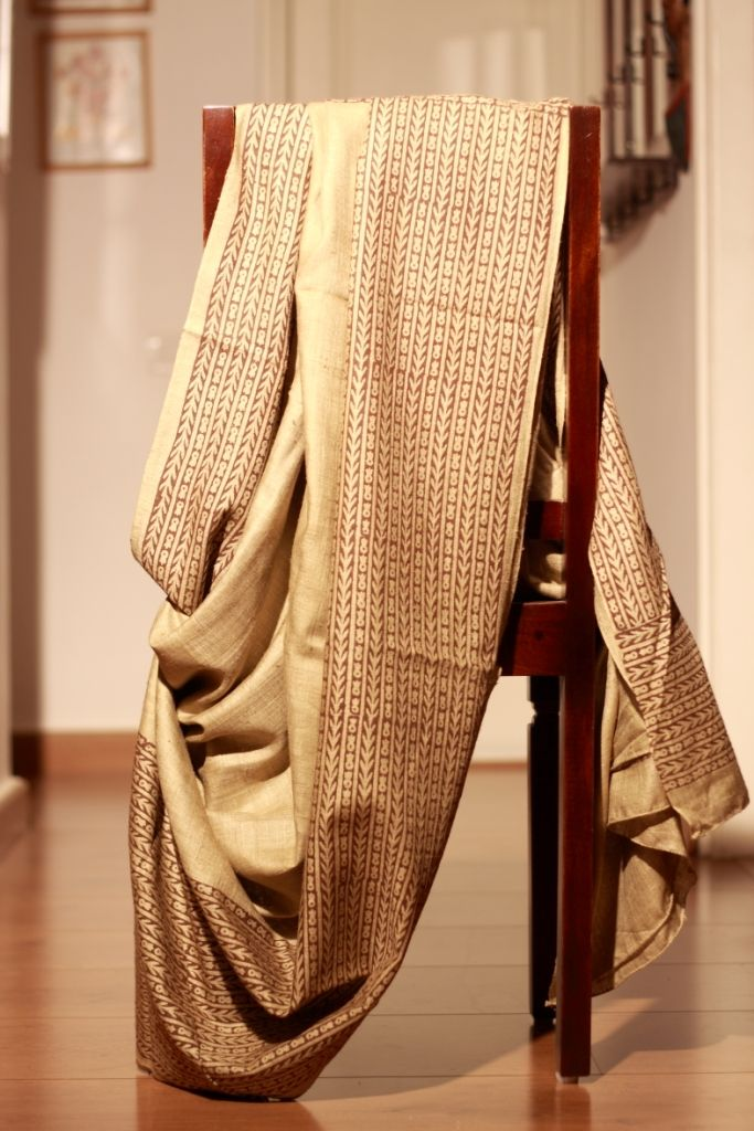 Linen saree in natural shade with hand block prints