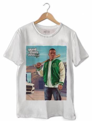 Camiseta Masculina Franklin GTA V Branca b4b83ddd1ef