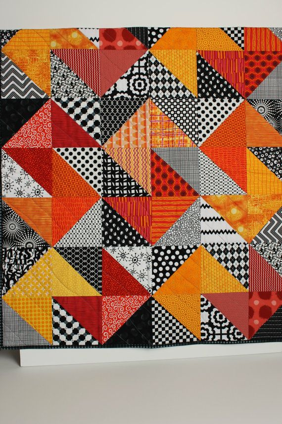 """Modern Baby Quilt """"Declan"""" Contemporary Triangle Pattern in Red, Orange, Gold Fabrics; Baby, Toddler, or Lap Quilt, Play Mat; Wall Hanging"""