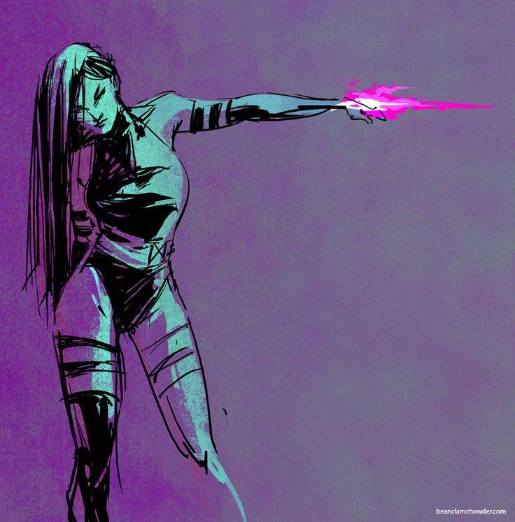 http://beanclam.deviantart.com/ (Irene Flores): Http Beanclam Deviantart Com, Psylocke Irene Flore, Art Books, Superhero United, Superhero Com, Marvel Stuff, Marvel Comic, Comic Books, Nerd Superhero