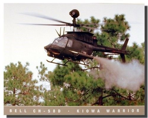 If you want to make a big impact in your living room, or kid's bedroom? Add this wonderful Military Bell CH 58D Kiowa Warrior Helicopter art print poster. It is a quick and easy way to completely transform any room. This poster delivers a sharp vivid image with a high degree of color accuracy which ensures long lasting beauty of the product. Order today and enjoy your surroundings.