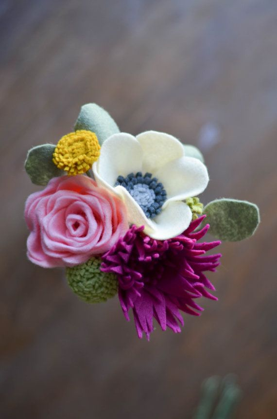 Rose, Mum, Anemone, and Dandelion Felt Flower Bouquet / READY TO SHIP Handmade Forever Flowers in Shades of Pink , Ivory, Mustard, Magenta