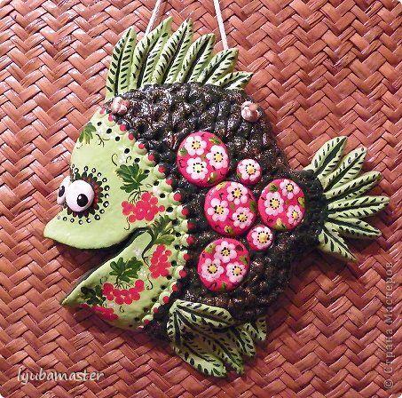 Поделка изделие День рождения Лепка Две рыбки Тесто соленое фото 1