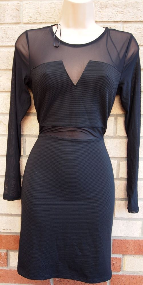46c415ebf7d2 H M BLACK QUILTED LONG SLEEVE MESH CUT OUT BODYCON PENCIL PARTY XMAS DRESS  12 14  HM  BodyconDress  Party