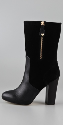 "Juicy Couture Randi Suede High Heel Boots 3.75"" hell, 1/2"" platform, 9"" shaft; $245"