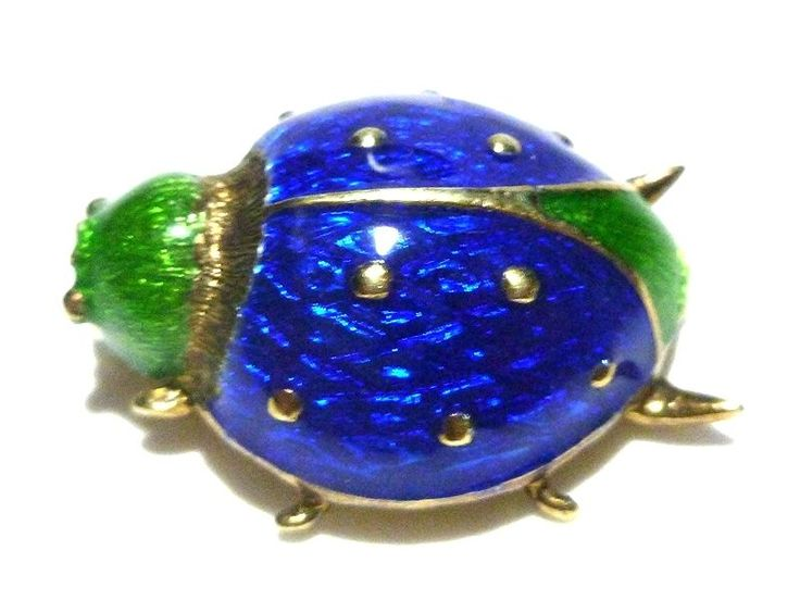 RARE VINTAGE MARTINE 14K GOLD BLUE & GREEN ENAMEL INSECT LADYBUG BROOCH PIN