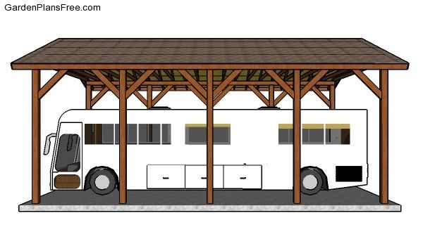 20 40 Rv Carport Plans Free Pdf Download Rv Carports Carport Plans Carport