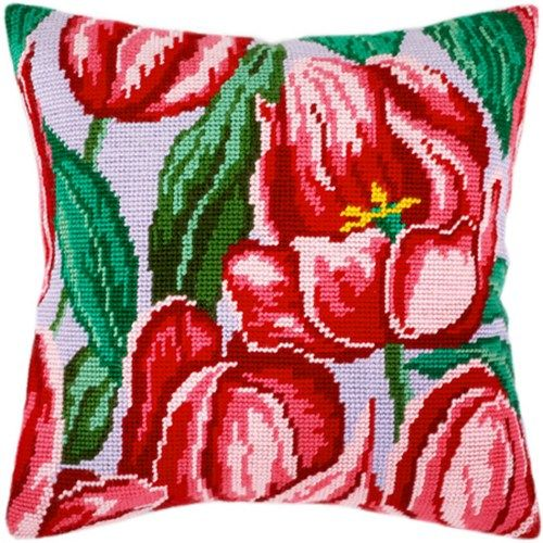 Tulips pillowcase cross stitch DIY embroidery kit, needlework