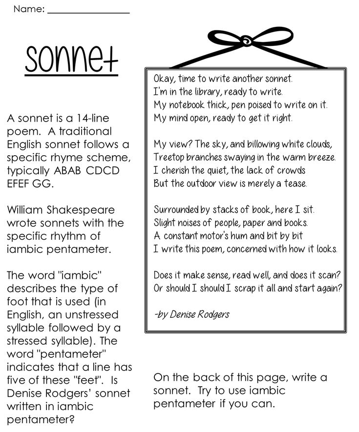 help writing a sonnet This will help get you started first, a definition of a shakespearean sonnet: (there is also a different format: a petrarchan sonnet i'm sure there are also other variations on the 14-line format.