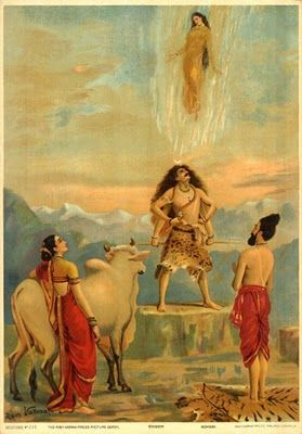 Shiva allows Ganga the Holy River to descend through his hair.