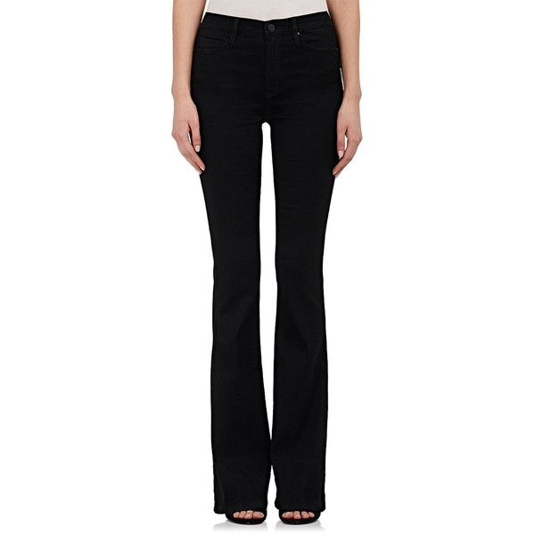 BLANKNYC Women's High-Rise Flared Jeans ($49) ❤ liked on Polyvore featuring jeans, black, flare jeans, flared leg jeans, shiny jeans, wetlook jeans and high rise flare jeans