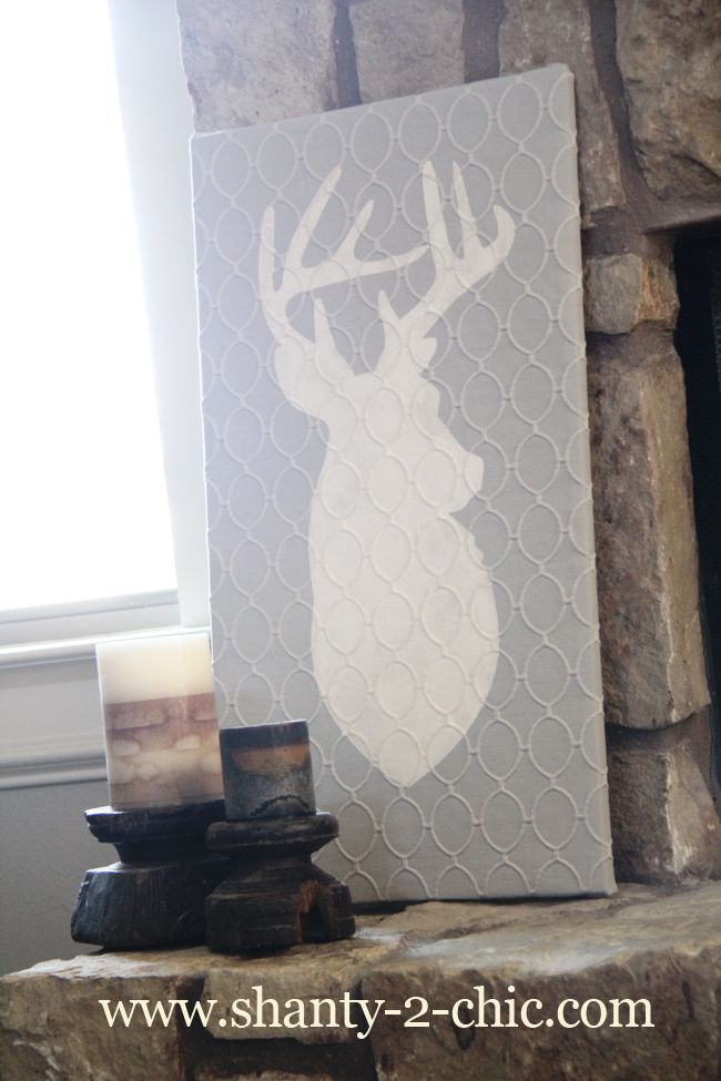 """Deer Art With Silhouette Fabric Ink"" from Shanty 2 Chic. This looks really neat... just without the deer."