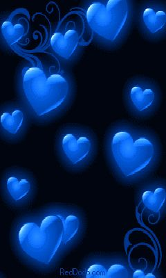Blue Hearts on Black Background
