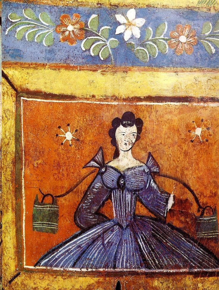 Gorodets painting Донце расписное. Деталь. Вторая половина 19 века.