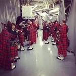 The 48th Highlanders warming up before the 2013 Leafs Home Opener