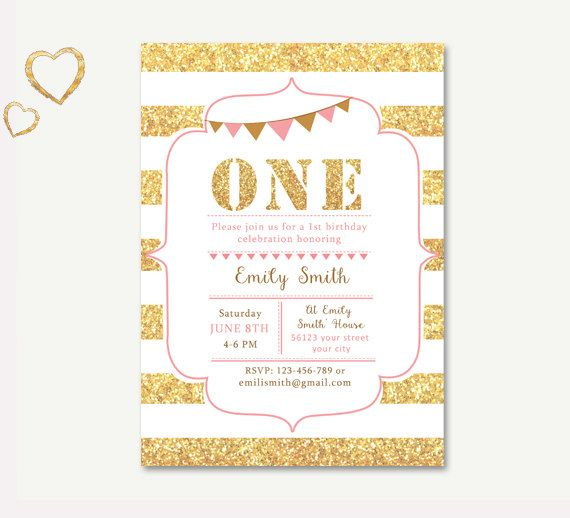 1st Birthday Invitation Pink and Gold by TheCutePaperStudio