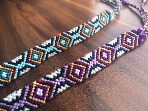 Friendship bracelet-Woven-Wrap-Knotted-Braided bracelet-Hippie-Handmade-Best friend Gift-Guy-Girl-Him-Her-Pattern-Ornament-Aztec-Purple-Blue