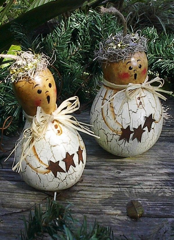 Primitive Angel Christmas Decor Ideas, 2013 Hand Painted Gourd Folk Art Christmas Winter Decor