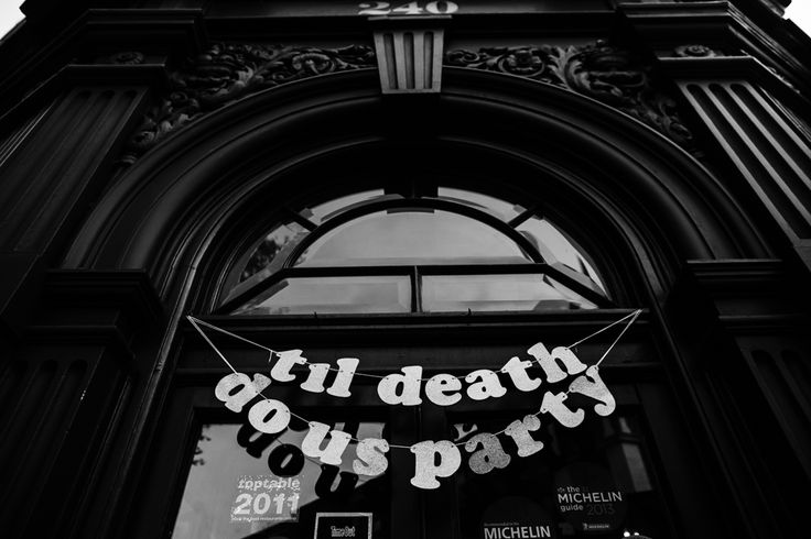 Till Death do us part-y Wedding Sign Bunting | The Peasant Wedding Venue in London Clerkenwell | autumnal ceremony at The Asylum | Chris Barber Photography | http://www.rockmywedding.co.uk/fay-chris/                                                                                                                                                     More