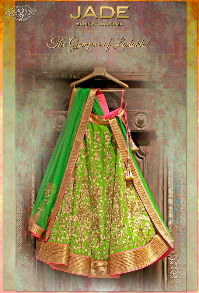 JADE's Elegant Lehenga Ensemble inspired from 'Gompas of Ladakh'. #jadebyMK #jade_byMK #jade #beautiful #green #gold #inspiring #lehenga