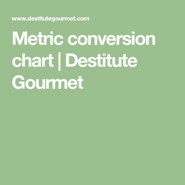 Metric conversion chart | Destitute Gourmet