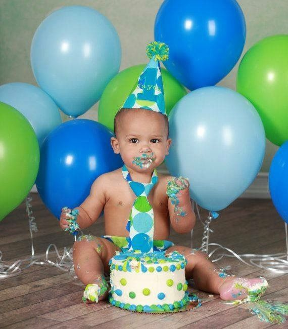 Baby boy bday greens and blues