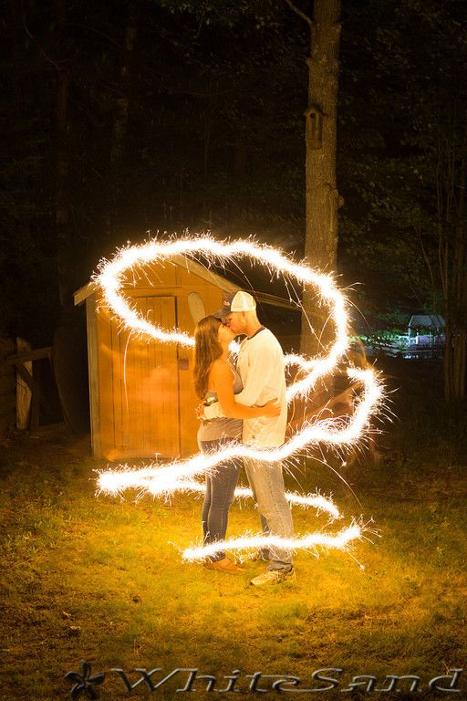 Chose this location because of the little shed and tree. They make a good secondary element while lit up by the sparkler light. Photo by Julia.