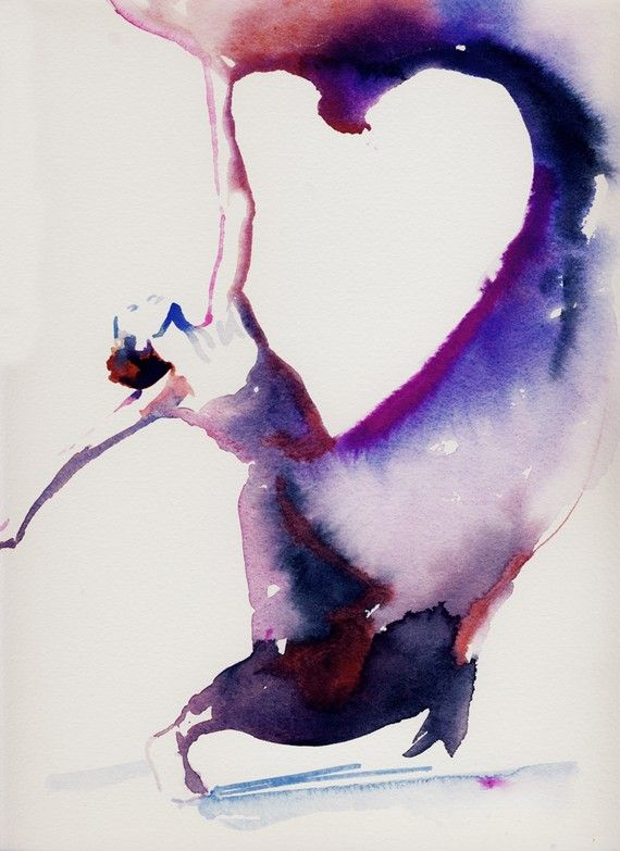 Dancer Art Print of Watercolor painting.  Titled - Dancer with heart via Etsy