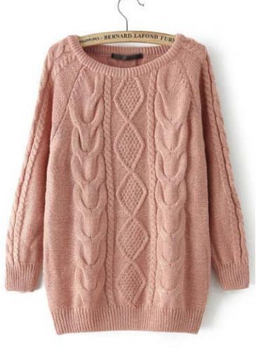 Enchanting Long Sleeve Solid Pink Knitting Wool Sweaters | Rosewe.com