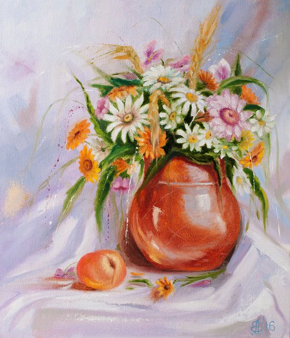 Beautiful wildflowers created by oil on canvas by ArtforInterior