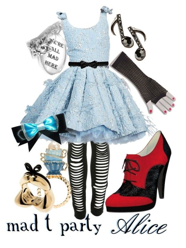 """""""Mad T Party Alice"""" by princesschandler ❤ liked on Polyvore featuring Forum, Miss Selfridge, Shoes of Prey, Burberry, women's clothing, women, female, woman, misses and juniors"""