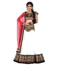 Buy White embroidered Georgette unstitched lehenga-choli ghagra-choli online