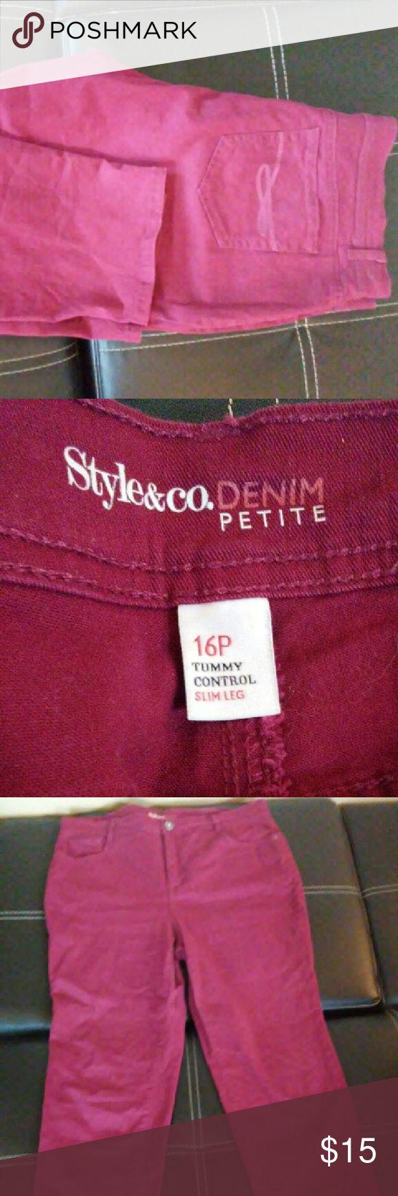 Burgundy Petite skinny jeans tummy control Size 16P Burgundy Petite skinny jeans by Style & Co Style & Co Jeans Skinny