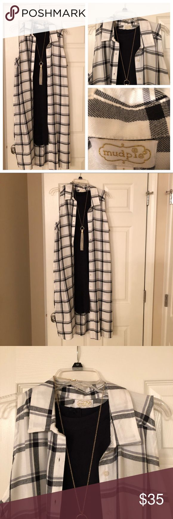 "💥SALE💥 NWT🎀MUD PIE🎀 DUSTER VEST 43"" long duster/ vest from Mud Pie.  Would look cute over shorts and a t-shirt too! Mud Pie Jackets & Coats Vests"