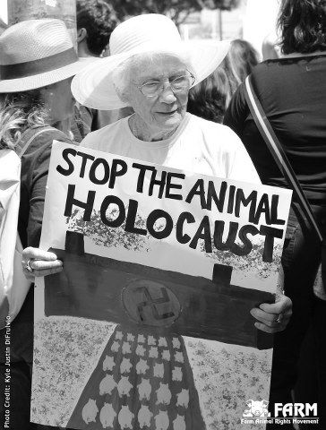"Dr. Alex Hershaft, FARM founder and President – and Holocaust survivor – recently had the chance to reflect on these parallels when he spoke at the ""One Million Animals"" Gala in Beverly Hills. Description from anairhoads.org. I searched for this on bing.com/images"