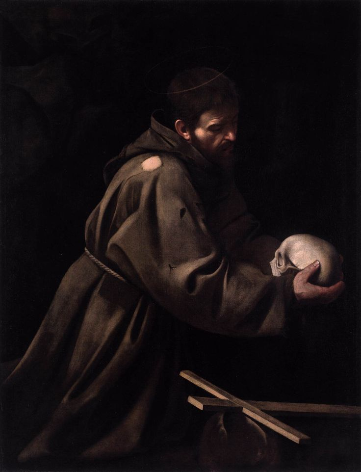 Caravaggio - St Francis in Meditation [ more art: http://makeyourideasart.com ]