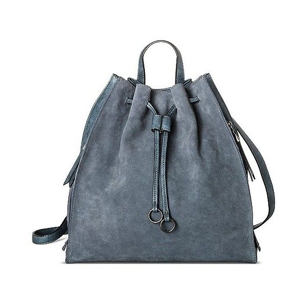 Women's Modern Suede Backpack Handbag - Denim, Denim Blue ($50) ❤ liked on Polyvore featuring bags, backpacks, denim blue, draw string bag, suede fringe backpack, day pack backpack, target bags and denim rucksack