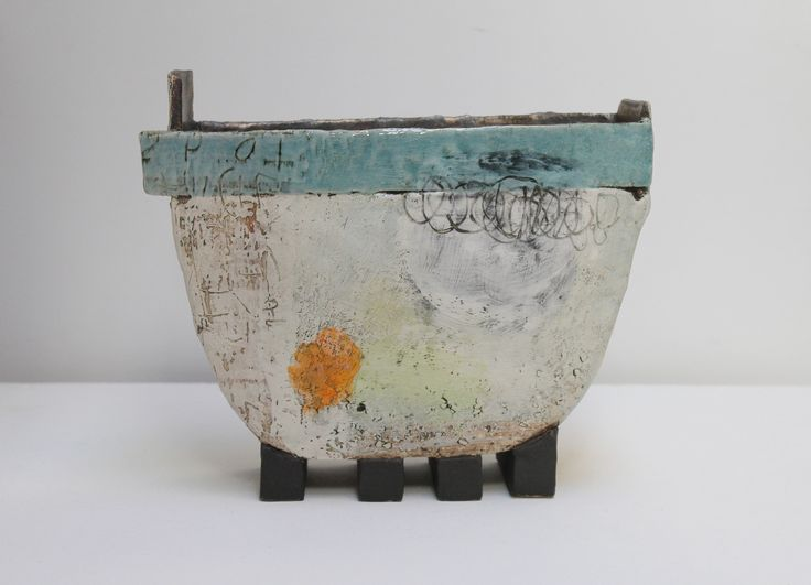 Near the Harbour - Craig makes slab built vessel forms that essentially act as 3D canvasses for him to explore the apparently infinite possibilities for mark making that can be achieved with a clay surface and ceramic materials.