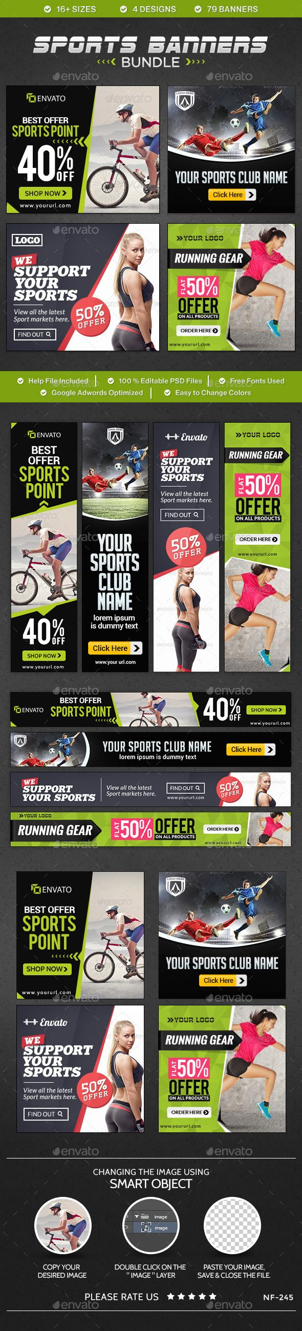 Sports Banners Bundle - 4 sets - Banners & Ads Web Elements
