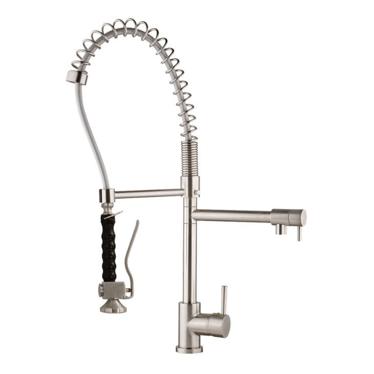 Top Commercial Grade Spiral Spring High Arch Pre Rinse Pull Down Spray Water Faucet with Water Supply Hoses and Other Optional Faucet Parts