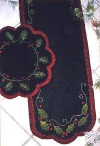applique Table Runners | Felt Christmas Table Runner Patterns http://www.ericas.com/applique ...