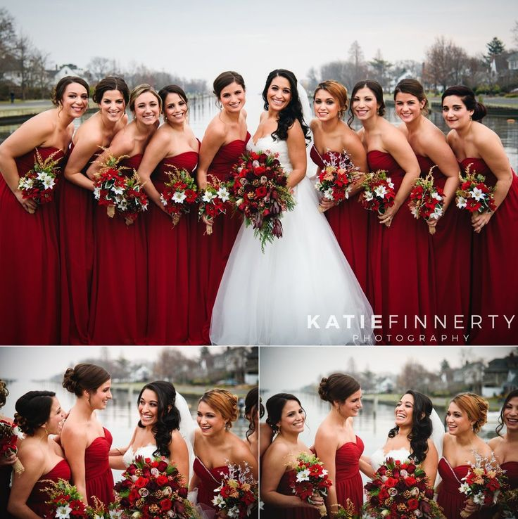 Love the holiday-inspired bouquets and red bridesmaids dresses for this Long Island winter wedding! Photographed by Rochester wedding photographer Katie Finnerty Photography | http://www.katiefinnertyphotography.com/blog/2016.1.4.long-island-wedding-cristina-tom