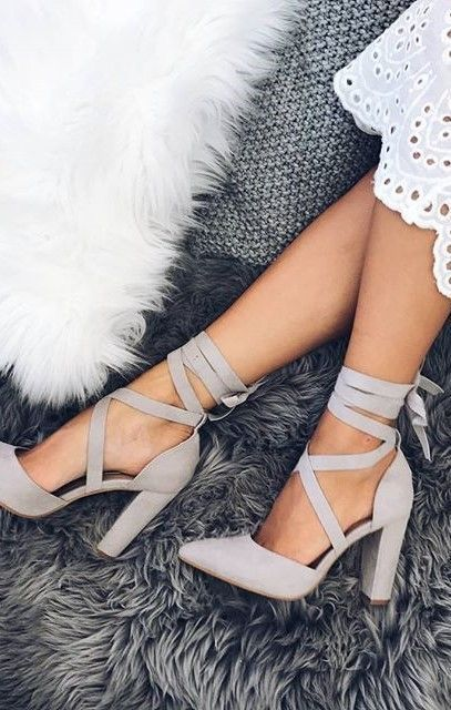 lace up chunky heels