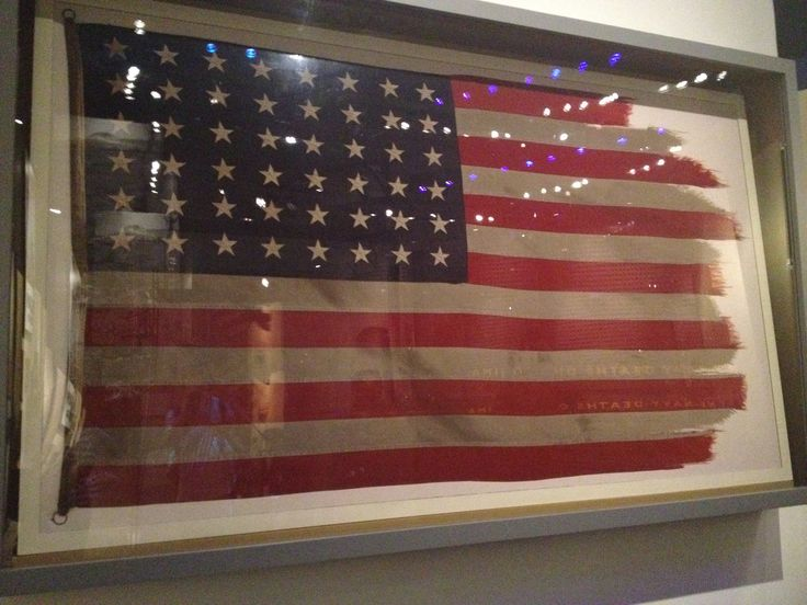 The original Iwo Jima flag that flew atop Mt. Suribachi. It was raised February 23, 1945 by the United States Marines. It is now at the United States Marine Corps Museum in Quantico, Virginia  Taken by Melinda Hall 2012
