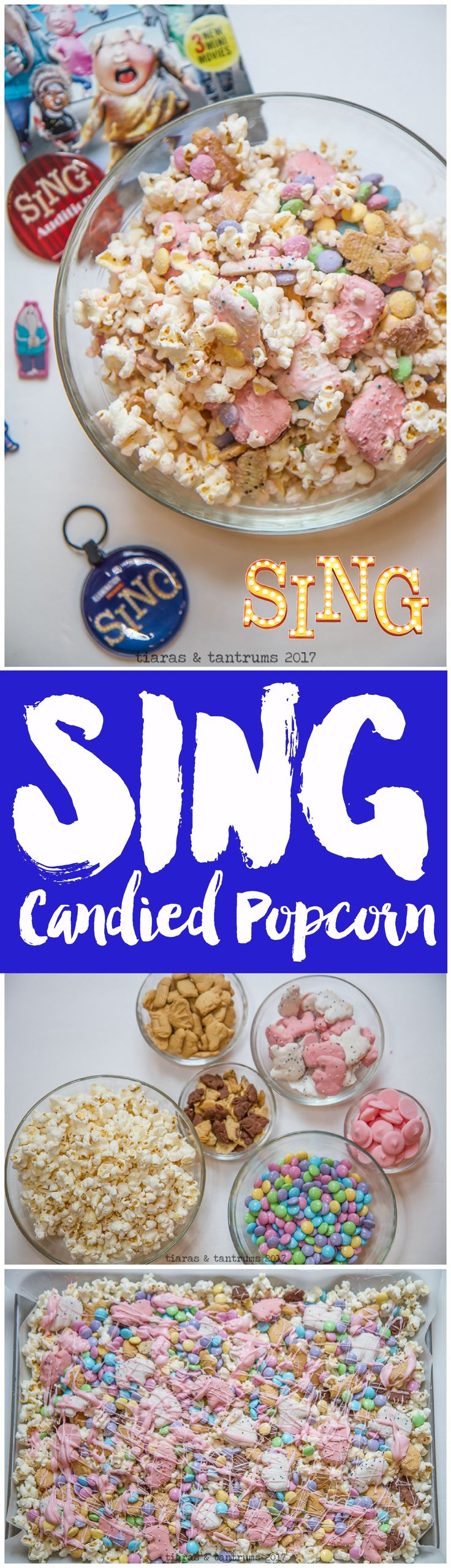 Popcorn Crunch Mix to celebrate the SING Movie. SING Movie Party Ideas and Tips and Food. Popcorn with Animal Crackers, Frosted Animal Crackers, Cookies and M&Ms Easter Candy. This is perfect for Easter as well as Spring celebrations and Kid's parties!   https://www.tiarastantrums.com/blog/sing-candied-popcorn-mix